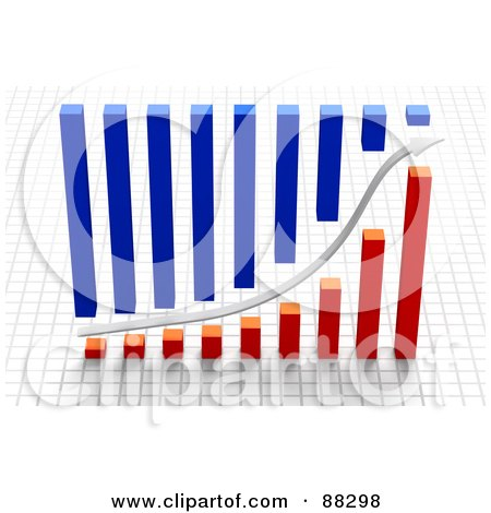 Royalty-Free (RF) Clipart Illustration of a 3d White Arrow Between Blue And Red Bar Graphs Over A Grid by Tonis Pan