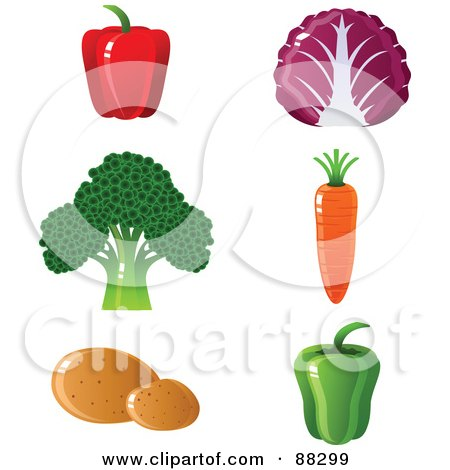 Royalty-Free (RF) Clipart Illustration of a Digital Collage Of Red And Green Bell Peppers, Red Cabbage, Broccoli, A Carrot And Potatoes by Tonis Pan