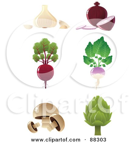 Royalty-Free (RF) Clipart Illustration of a Digital Collage Of Garlic, Red Onions, A Beet, Turnip, Button Mushrooms And An Artichoke by Tonis Pan