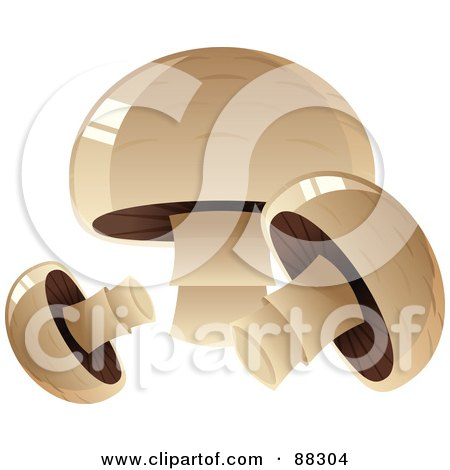 Royalty-Free (RF) Clipart Illustration of Three Shiny Button Mushrooms by Tonis Pan