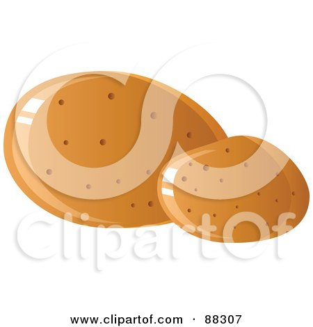 Royalty-Free (RF) Clipart Illustration of Two Shiny Brown Potatoes by Tonis Pan