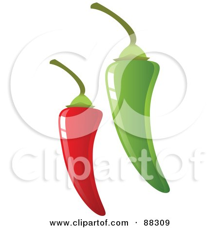 Royalty-Free (RF) Clipart Illustration of Shiny Green And Red Hot Peppers With Stems by Tonis Pan