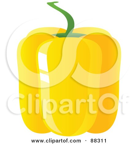 Royalty-Free (RF) Clipart Illustration of a Shiny Yellow Bell Pepper by Tonis Pan