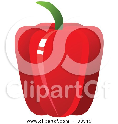 Royalty-Free (RF) Clipart Illustration of a Shiny Red Bell Pepper by Tonis Pan