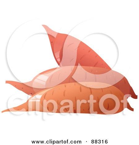 Royalty-Free (RF) Clipart Illustration of Three Shiny Sweet Potatoes by Tonis Pan