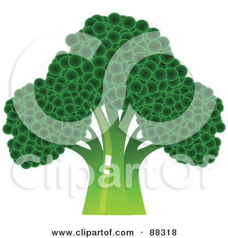 Royalty-Free (RF) Clipart Illustration of a Dark Green Broccoli Head by Tonis Pan
