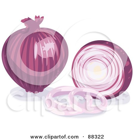 Royalty-Free (RF) Clipart Illustration of a Whole Shiny Purple Onion By A Sliced Onion by Tonis Pan