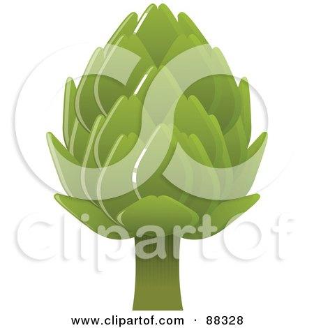 Royalty-Free (RF) Clipart Illustration of a Shiny Green Artichoke Head by Tonis Pan