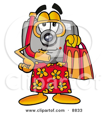 Clipart Picture of a Camera Mascot Cartoon Character in Orange and Red Snorkel Gear by Toons4Biz