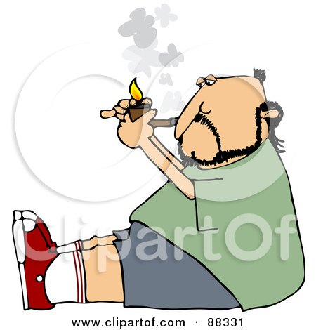 Royalty-Free (RF) Clipart Illustration of a Caucasian Man Sitting On The Floor And Lighting A Tobacco Pipe by djart