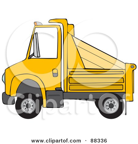 Royalty-Free (RF) Clipart Illustration of a Side View Of A Yellow Dumptruck by djart