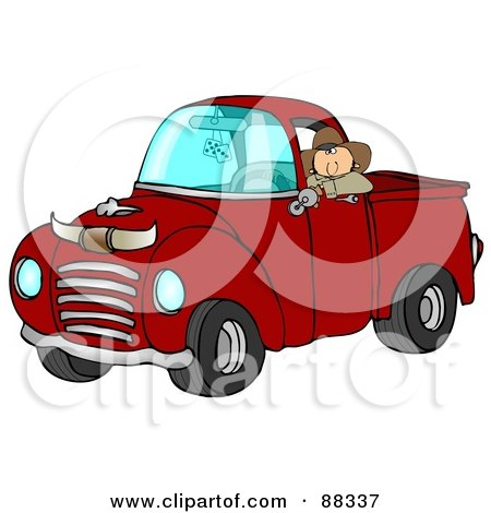 Royalty-Free (RF) Clipart Illustration of a Cowboy Leaning Out The Window Of His Vintage Red Pickup Truck With Horns On The Hood by djart