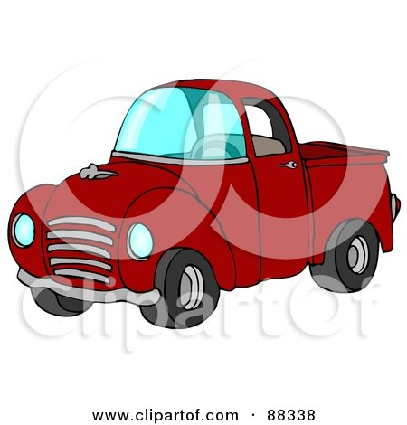 Royalty-Free (RF) Clipart Illustration of a Vintage Red Pickup Truck With A Metal Grille by djart