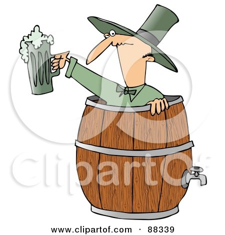 Royalty-Free (RF) Clipart Illustration of a Skinny Man In A Beer Keg, Holding Up Green Beer by djart