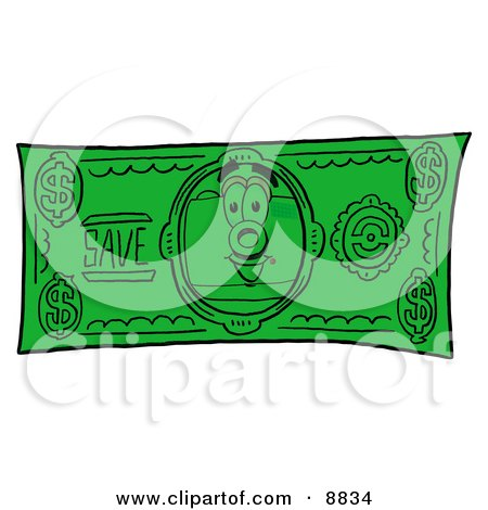 Clipart Picture of a Camera Mascot Cartoon Character on a Dollar Bill by Toons4Biz