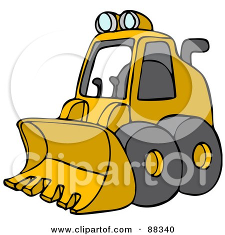 Royalty-Free (RF) Clipart Illustration of a Parked Yellow Mini Loader by djart