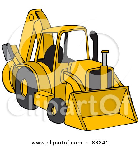 Parked Yellow Backhoe Posters, Art Prints