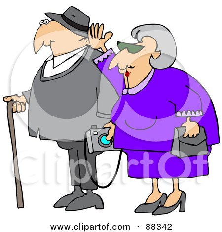 Royalty-Free (RF) Clipart Illustration of a Senior Woman Waving And Walking By Her Husband Who Is Carrying A Camera And Using A Cane by djart