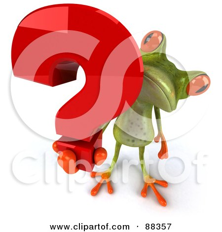 Royalty-Free (RF) Clipart Illustration of a 3d Springer Frog Holding Up A Question Mark by Julos