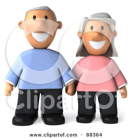 3d Senior Couple Holding Hands And Facing Front Posters, Art Prints