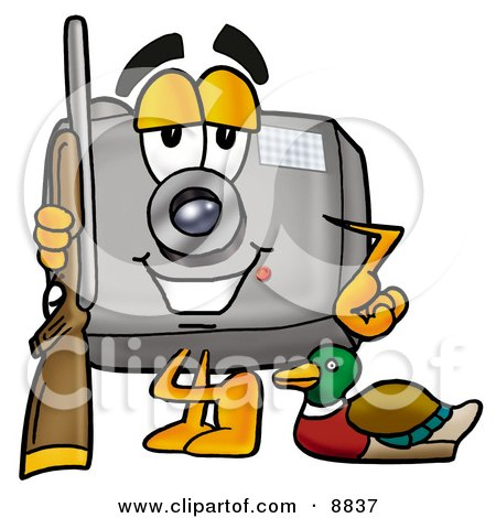 Clipart Picture of a Camera Mascot Cartoon Character Duck Hunting, Standing With a Rifle and Duck by Toons4Biz