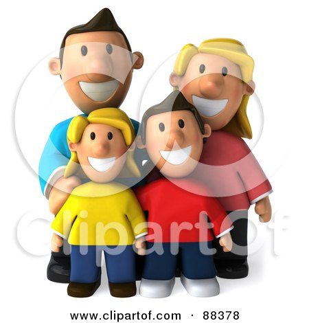 Royalty-Free (RF) Clipart Illustration of a 3d Happy Caucasian Family Posing And Facing Front by Julos