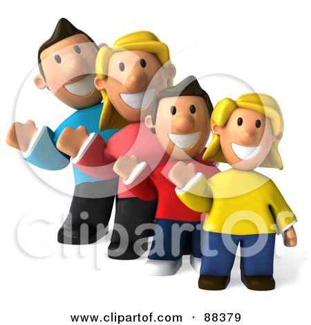 Royalty-Free (RF) Clipart Illustration of a 3d Happy Caucasian Family In A Row, Waving And Facing Front by Julos