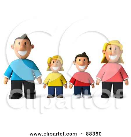 Royalty-Free (RF) Clipart Illustration of a 3d Happy Caucasian Family Standing In A Row And Facing Front by Julos