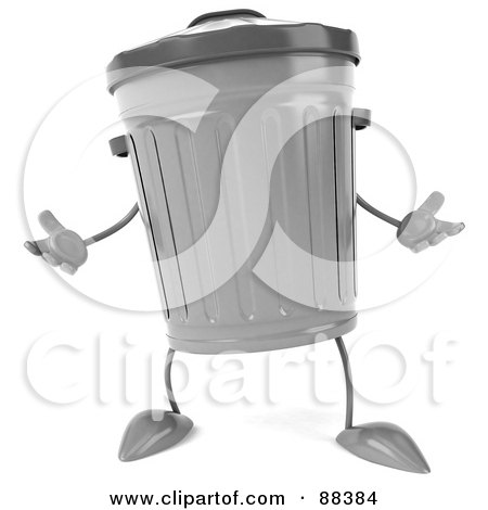 Royalty-Free (RF) Clipart Illustration of a 3d Trash Can Standing And Facing Front by Julos