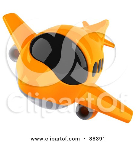 Royalty-Free (RF) Clipart Illustration of a 3d Orange Airliner With Tinted Windows, Flying Forward by Julos