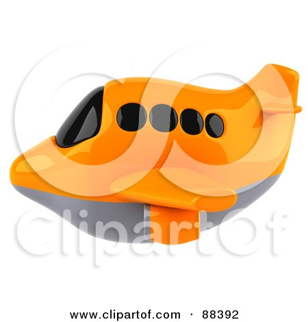 Royalty-Free (RF) Clipart Illustration of a 3d Orange Airliner With Tinted Windows, Flying Left by Julos
