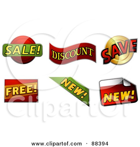 Royalty-Free (RF) Clipart Illustration of a Digital Collage Of Sale, Discount, Save, Free, And New Stickers by BNP Design Studio