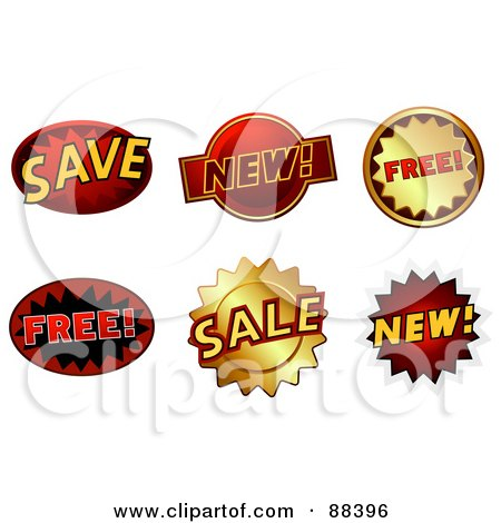 Royalty-Free (RF) Clipart Illustration of a Digital Collage Of Save, New, Free And Sale Stickers by BNP Design Studio