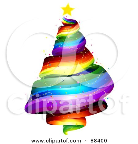 Royalty-Free (RF) Clipart Illustration of a Star Atop A Rainbow Spiral Christmas Tree by BNP Design Studio
