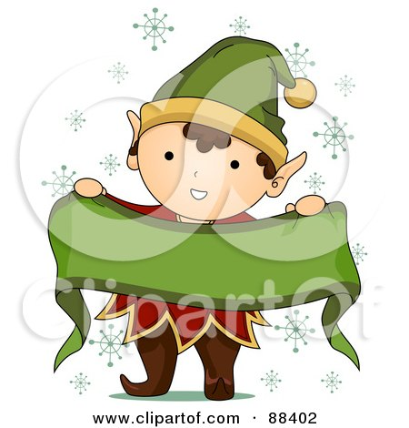 Royalty-Free (RF) Clipart Illustration of a Cute Christmas Elf Holding Up A Blank Ribbon Banner by BNP Design Studio