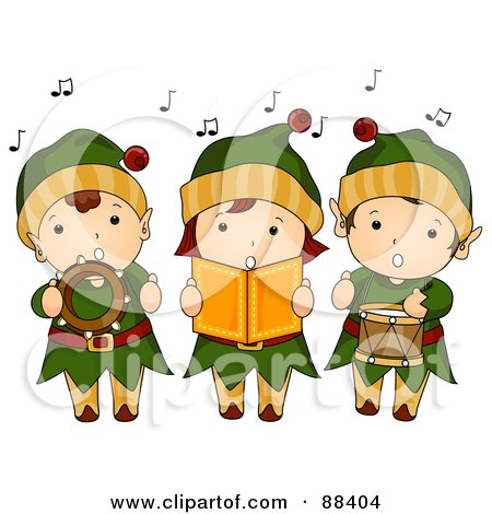 Royalty-Free (RF) Clipart Illustration of a Trio Of Singing Christmas Elves by BNP Design Studio