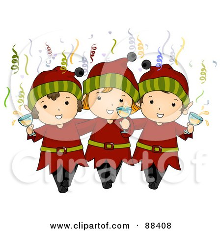 Royalty-Free (RF) Clipart Illustration of Three Christmas Elves With Champagne And Confetti by BNP Design Studio