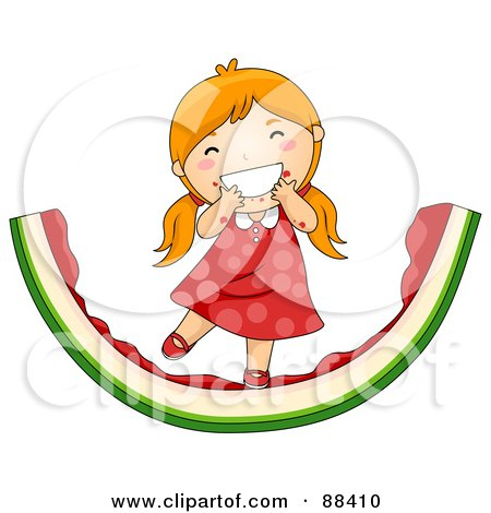 Royalty-Free (RF) Clipart Illustration of a Red Haired Girl Eating On A Giant Watermelon Rind by BNP Design Studio