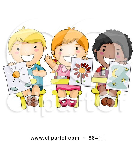 Royalty-Free (RF) Clipart Illustration of Three Diverse School Children Holding Up Their Drawings In Art Class by BNP Design Studio