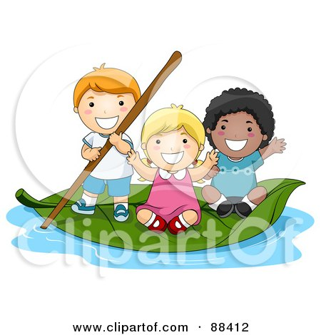 Royalty-Free (RF) Clipart Illustration of a Group Of Tiny Children On A Leaf Boat by BNP Design Studio
