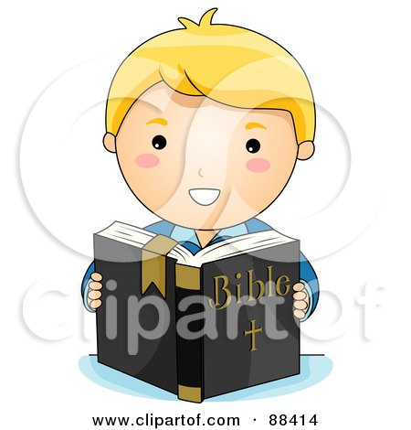Royalty-Free (RF) Clipart Illustration of a Blond Christian Boy Reading The Holy Bible by BNP Design Studio
