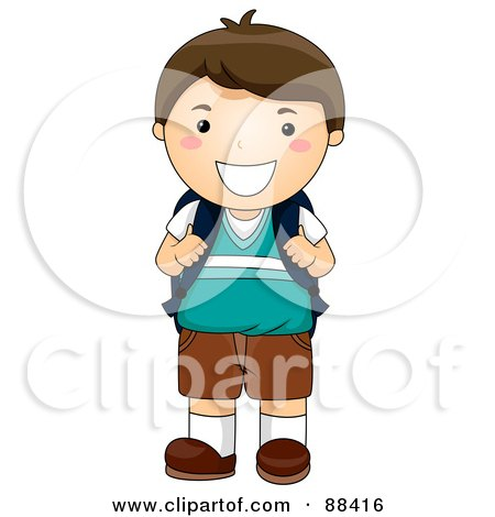 Brunette School Boy Smiling And Holding Onto His Backpack Straps Posters, Art Prints