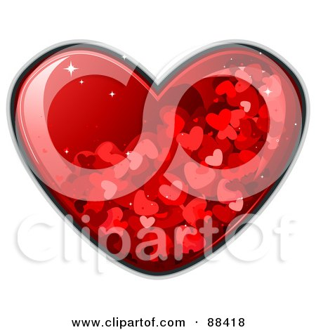 Royalty-Free (RF) Clipart Illustration of a Glossy Red Heart With Sparkles And Tiny Hearts by BNP Design Studio