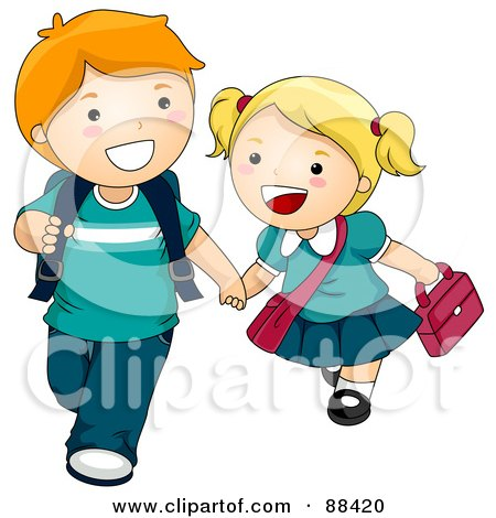 Two Kids Holding Hands And Walking To School Posters, Art Prints