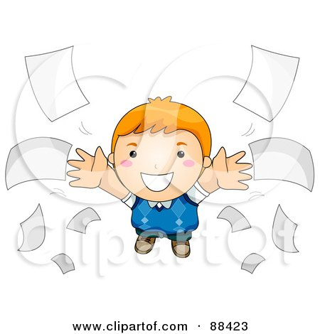 Royalty-Free (RF) Clipart Illustration of a Boy Flying Through Loose Papers by BNP Design Studio