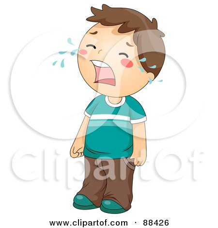 Royalty-Free (RF) Clipart Illustration of a Sad Brunette Boy Standing And Crying by BNP Design Studio