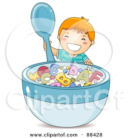 Royalty-Free (RF) Clipart Illustration of a Happy Boy Holding A Spoon By A Giant Bowl Of Alphabet Cereal by BNP Design Studio