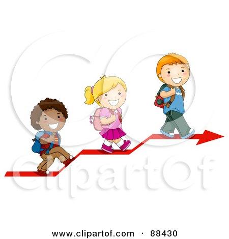 Royalty-Free (RF) Clipart Illustration of Three Diverse School Children Walking Up On An Arrow by BNP Design Studio