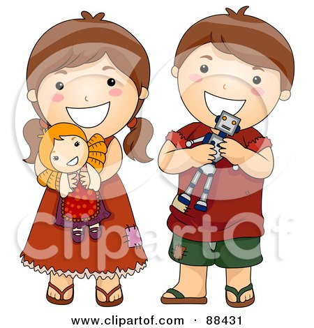 Royalty-Free (RF) Clipart Illustration of a Brunette Brother And Sister With Their Toys by BNP Design Studio