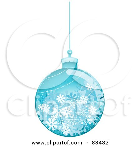 Royalty-Free (RF) Clipart Illustration of a Glossy Blue Snowflake Christmas Ball by BNP Design Studio
